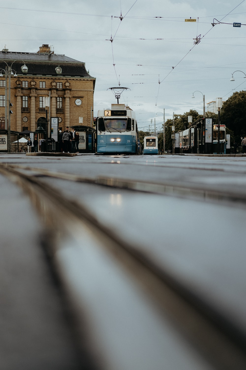 blue and white tram