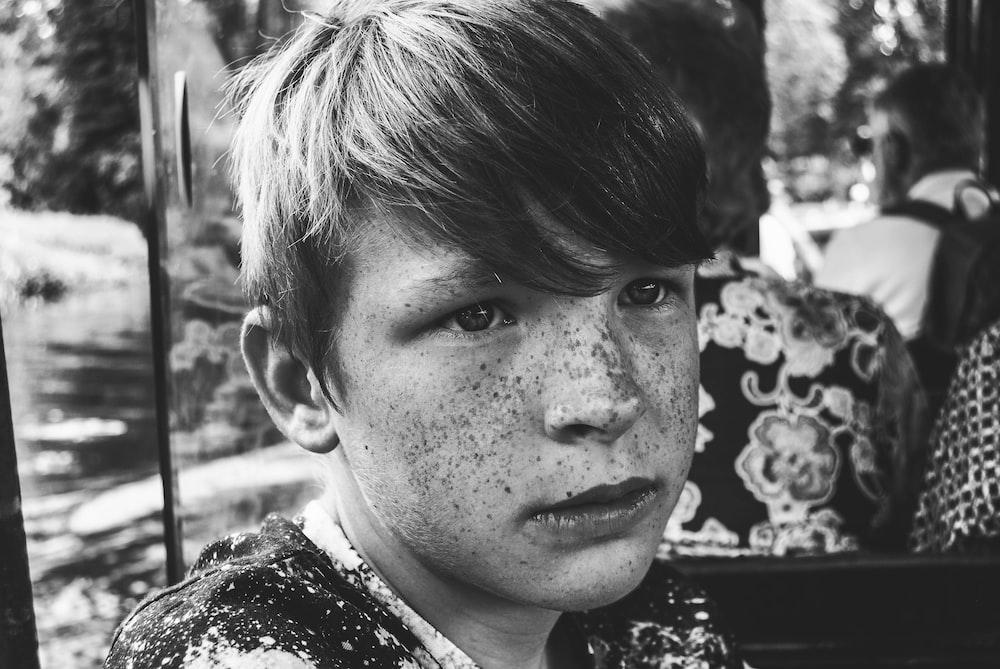 boy portrait grayscale photography