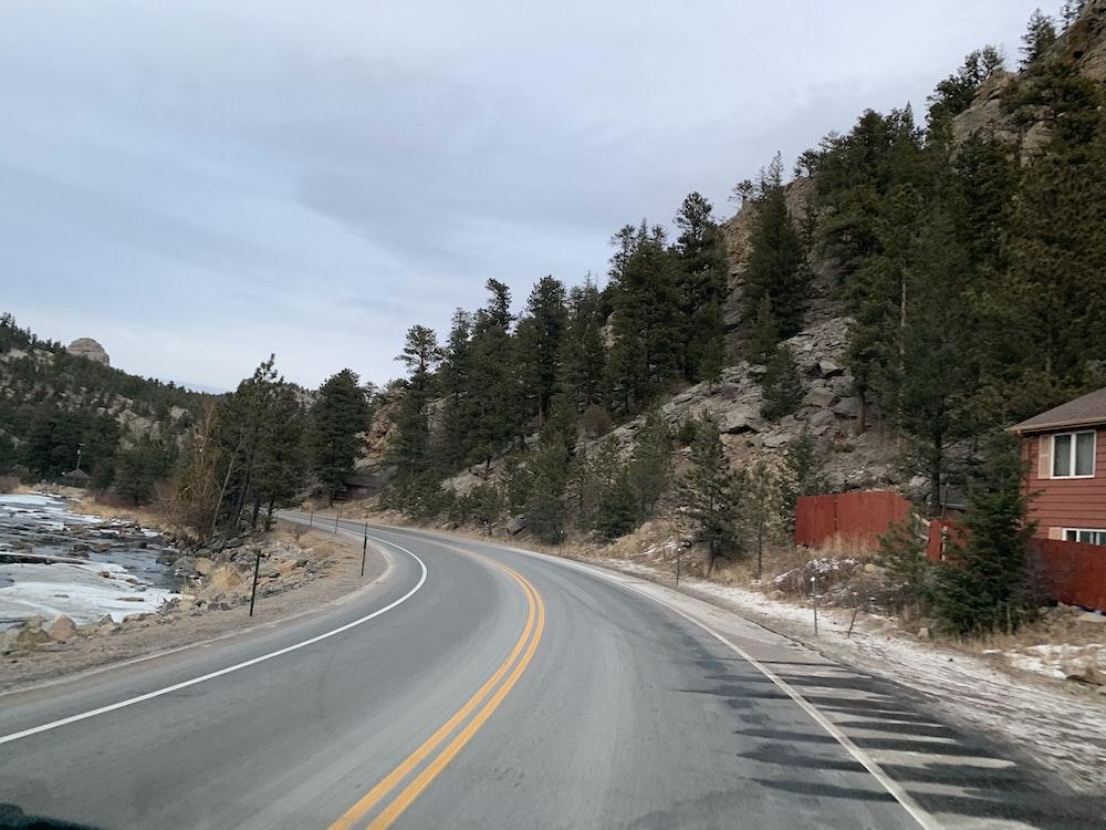 wide road under white sky