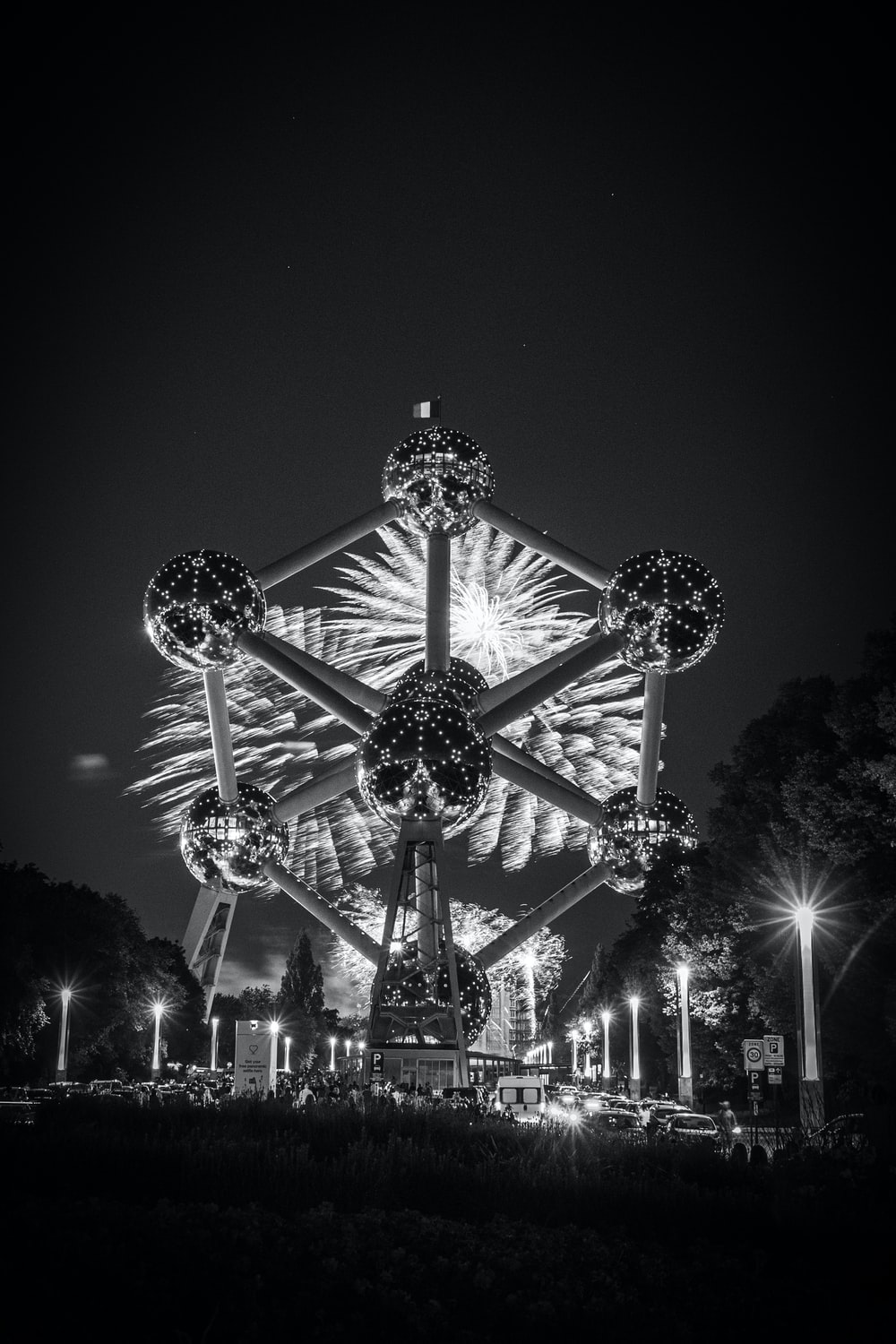 photography of sculpture during nighttime