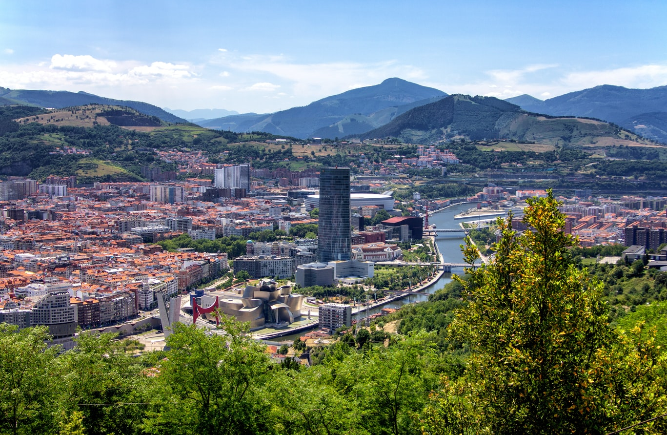 arial view of Bilbao, Spain