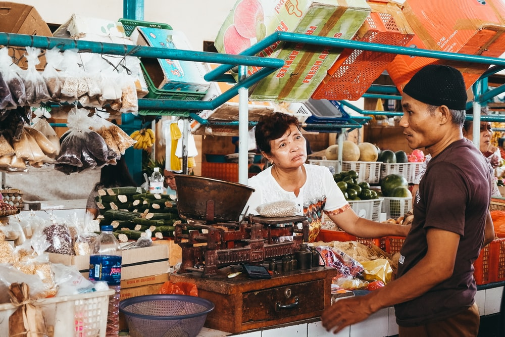 woman selling products