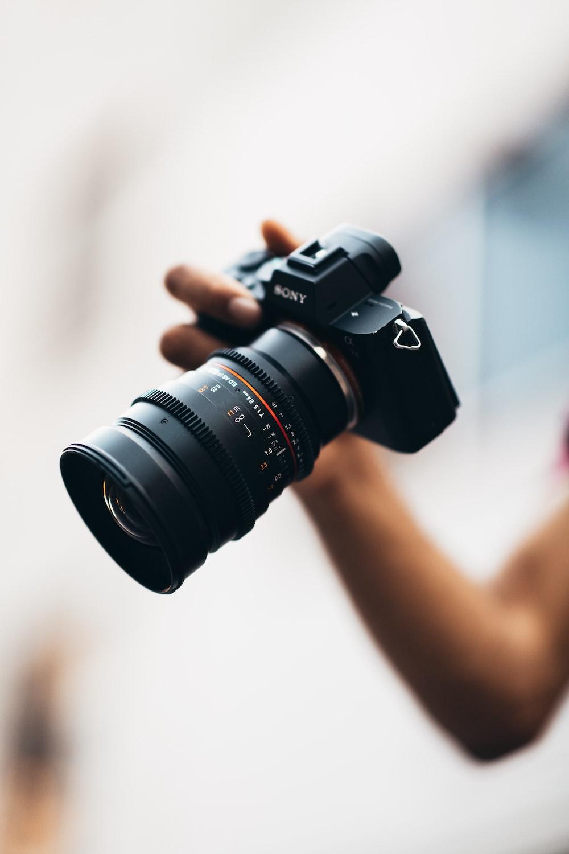 black Sony DSLR camera