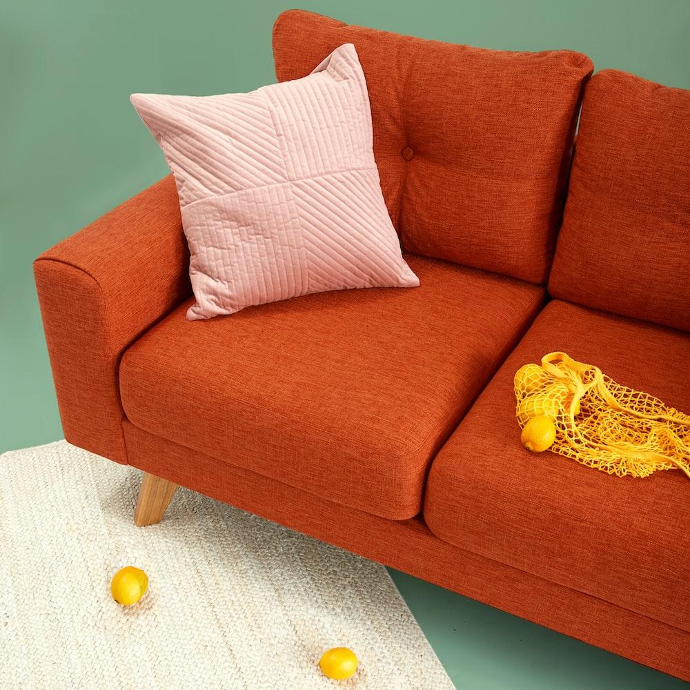red fabric sofa