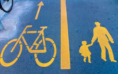 blue and yellow pedestrian lane