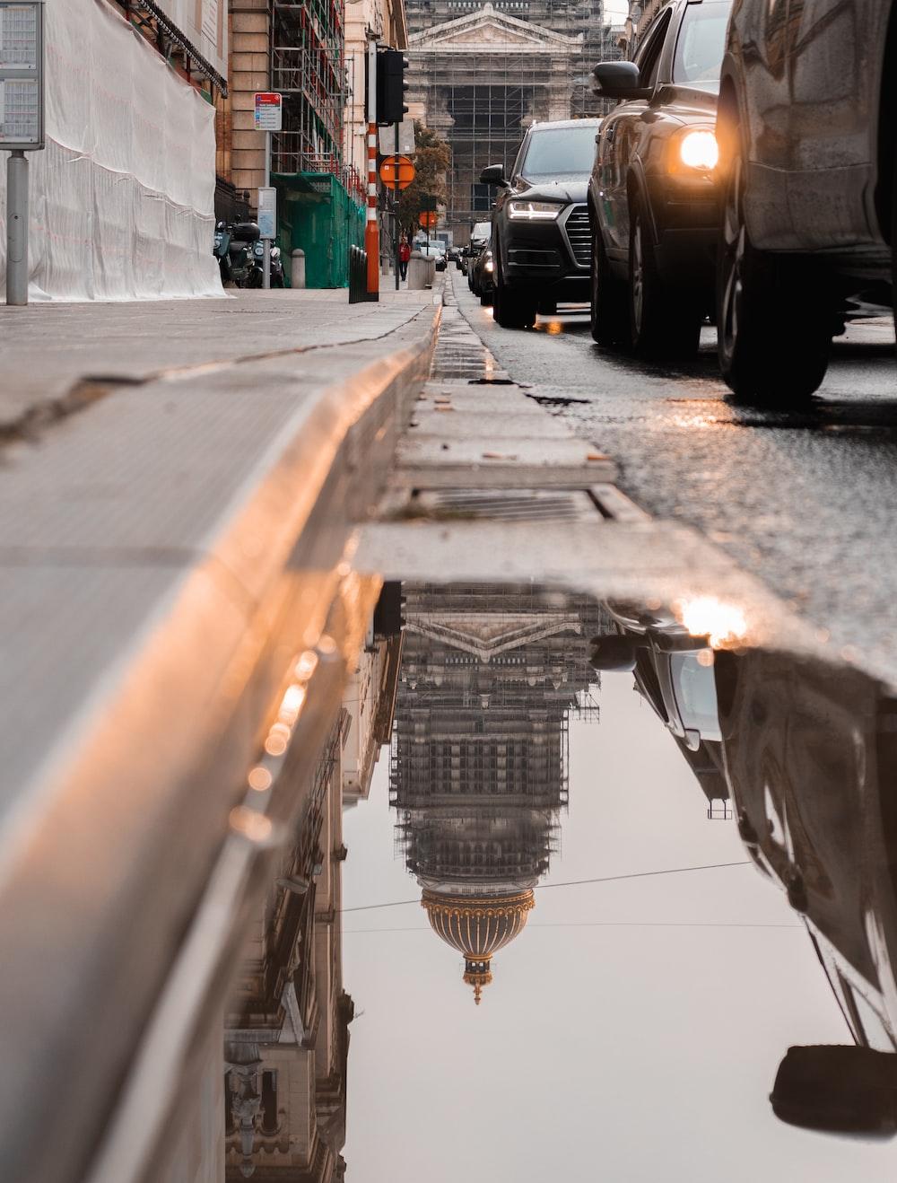 wet street gutter