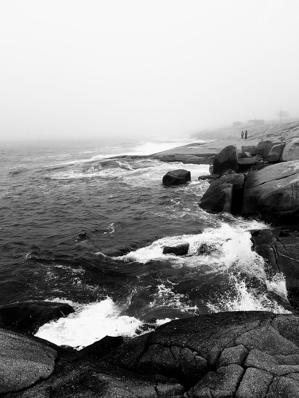 grayscale photography of ocean