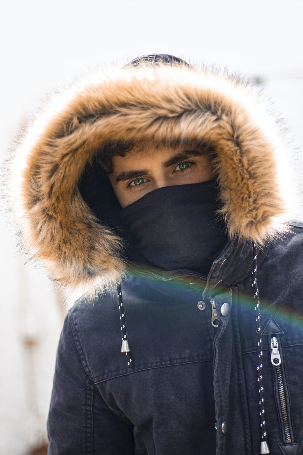 selective focus photography of man wearing parka hoodie