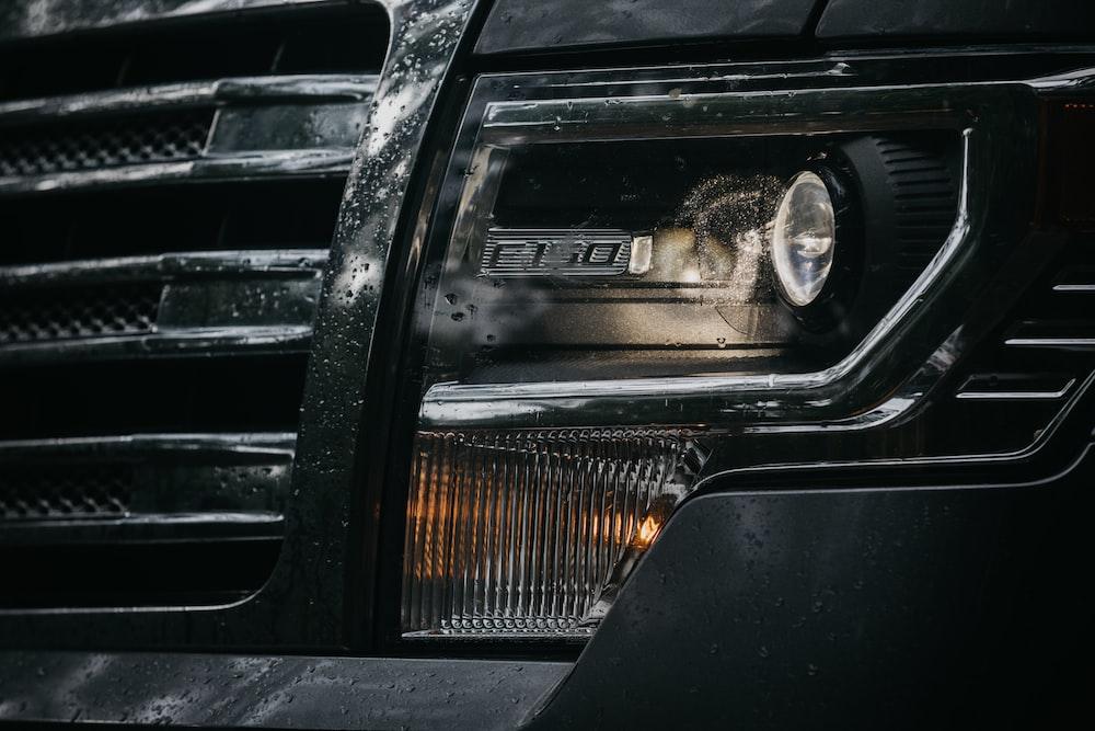 black Ford F150 headlight