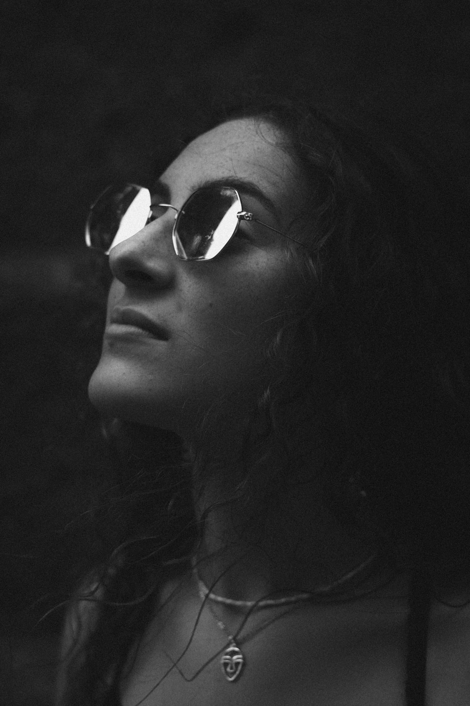 woman wearing framed sunglasses