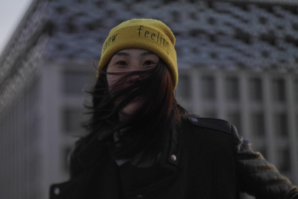 women's yellow knit cap