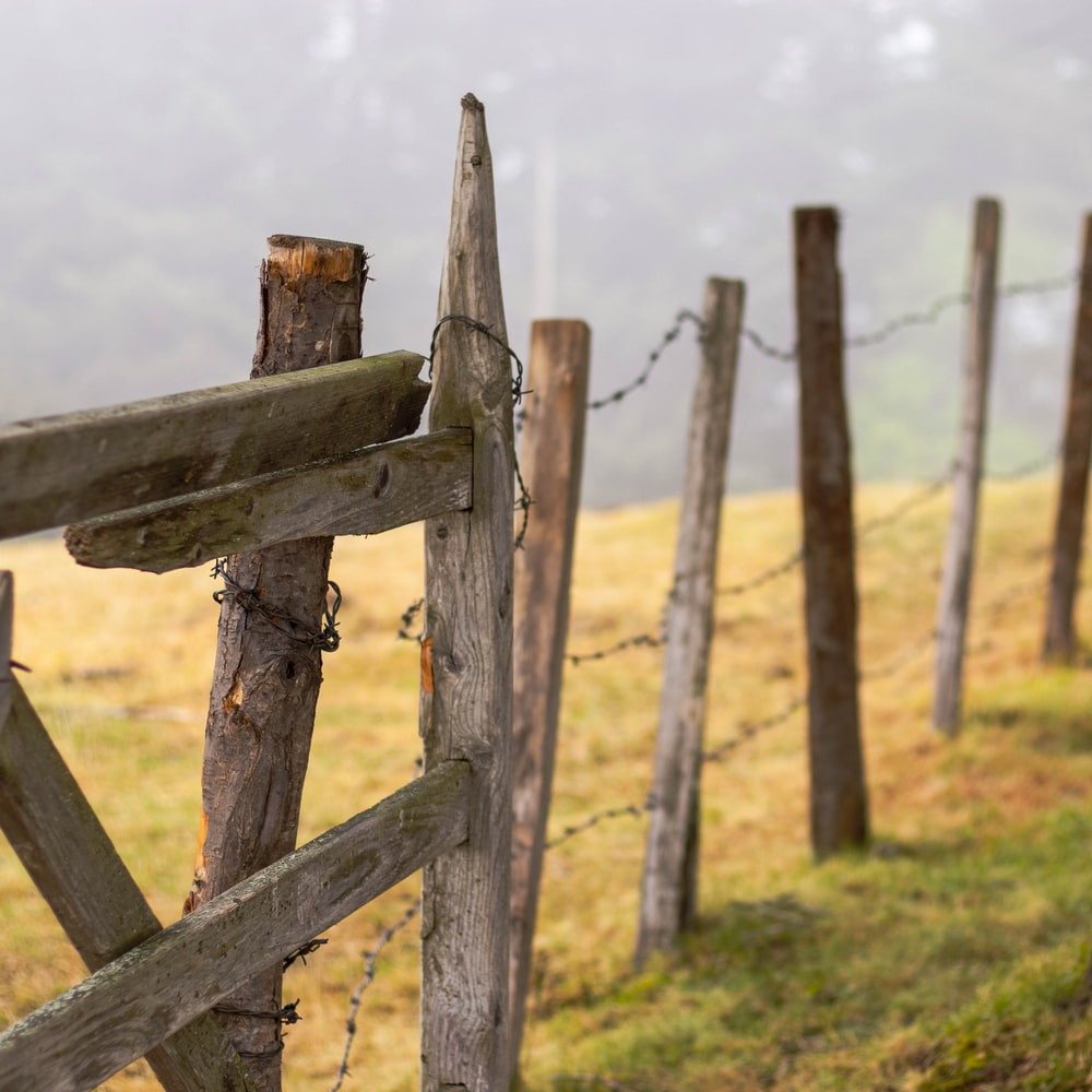 photo of brown wooden fence on grass field