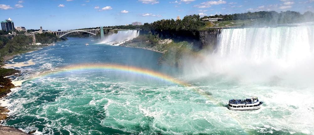 photography of ship near Niagara falls during daytime