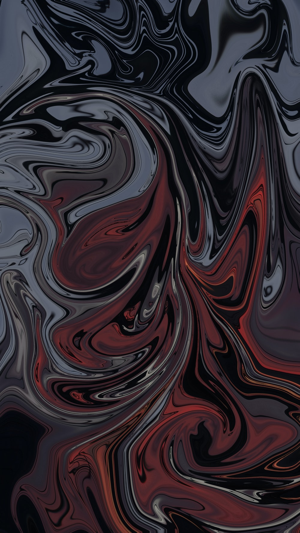 gray and red abstract painting