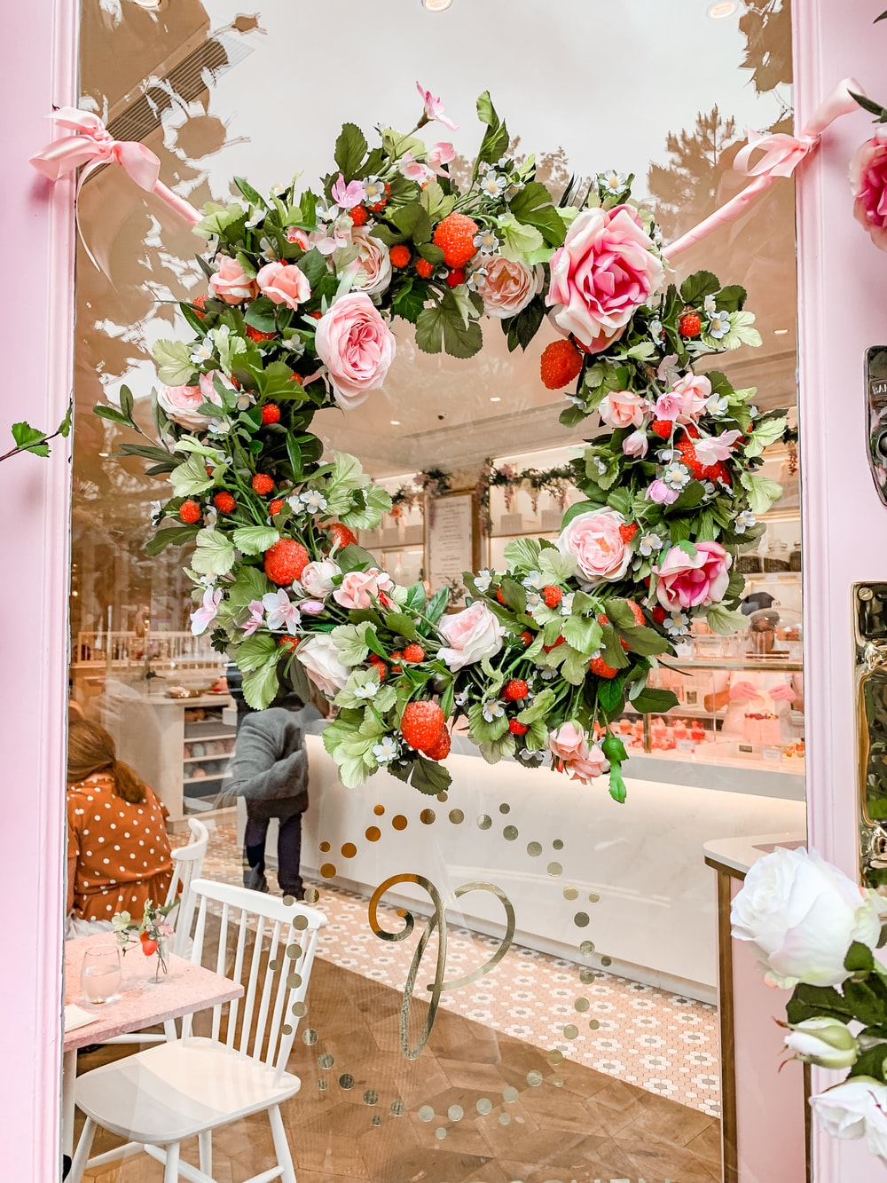 pink and red floral wreath