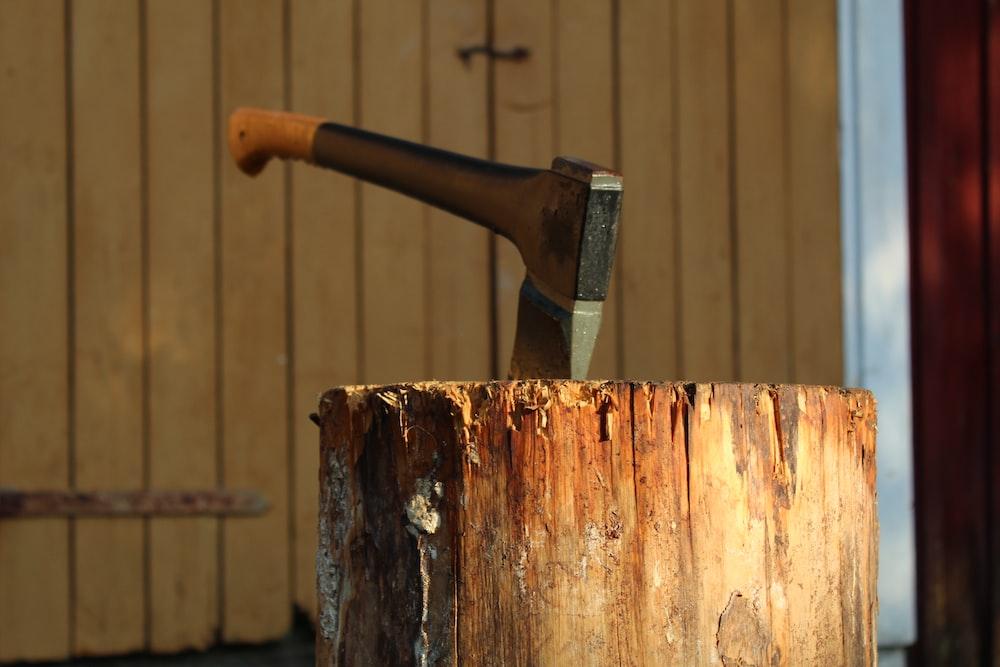 axe on wood log