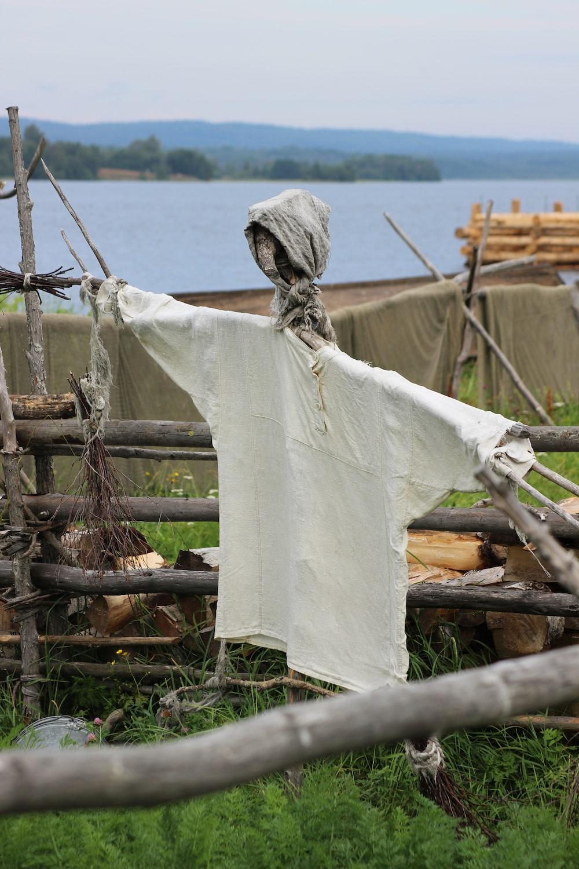 white t-shirt on log