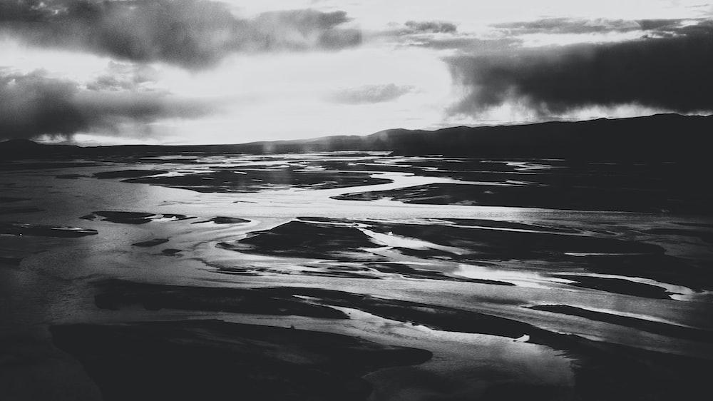 grayscale photo of seashor
