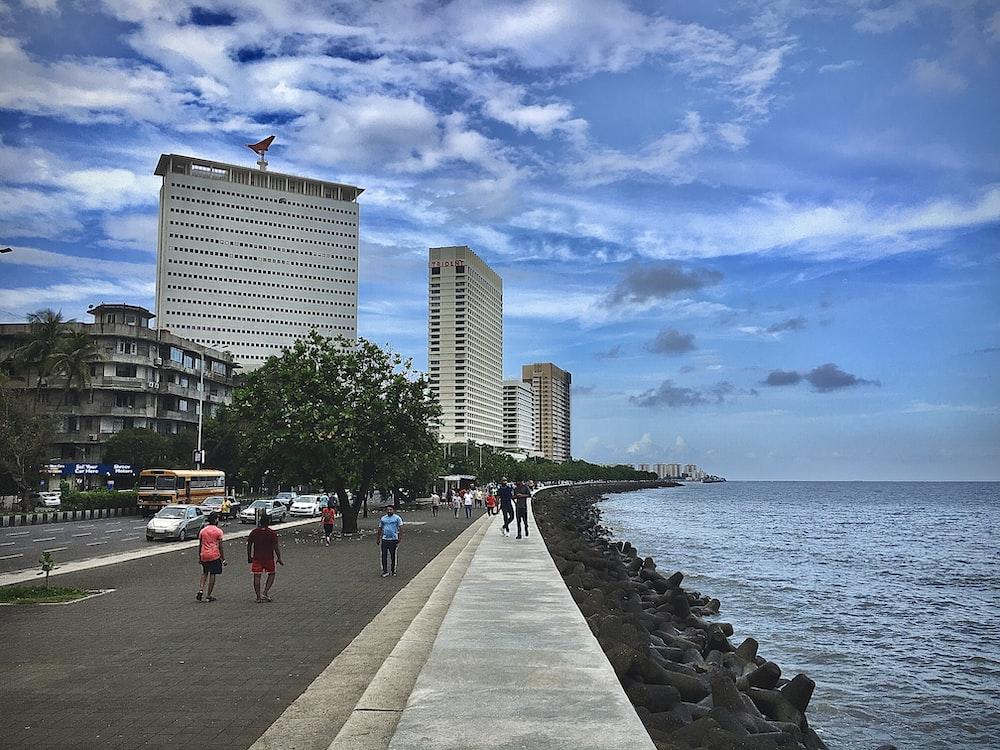 people walking on side walk beside beach