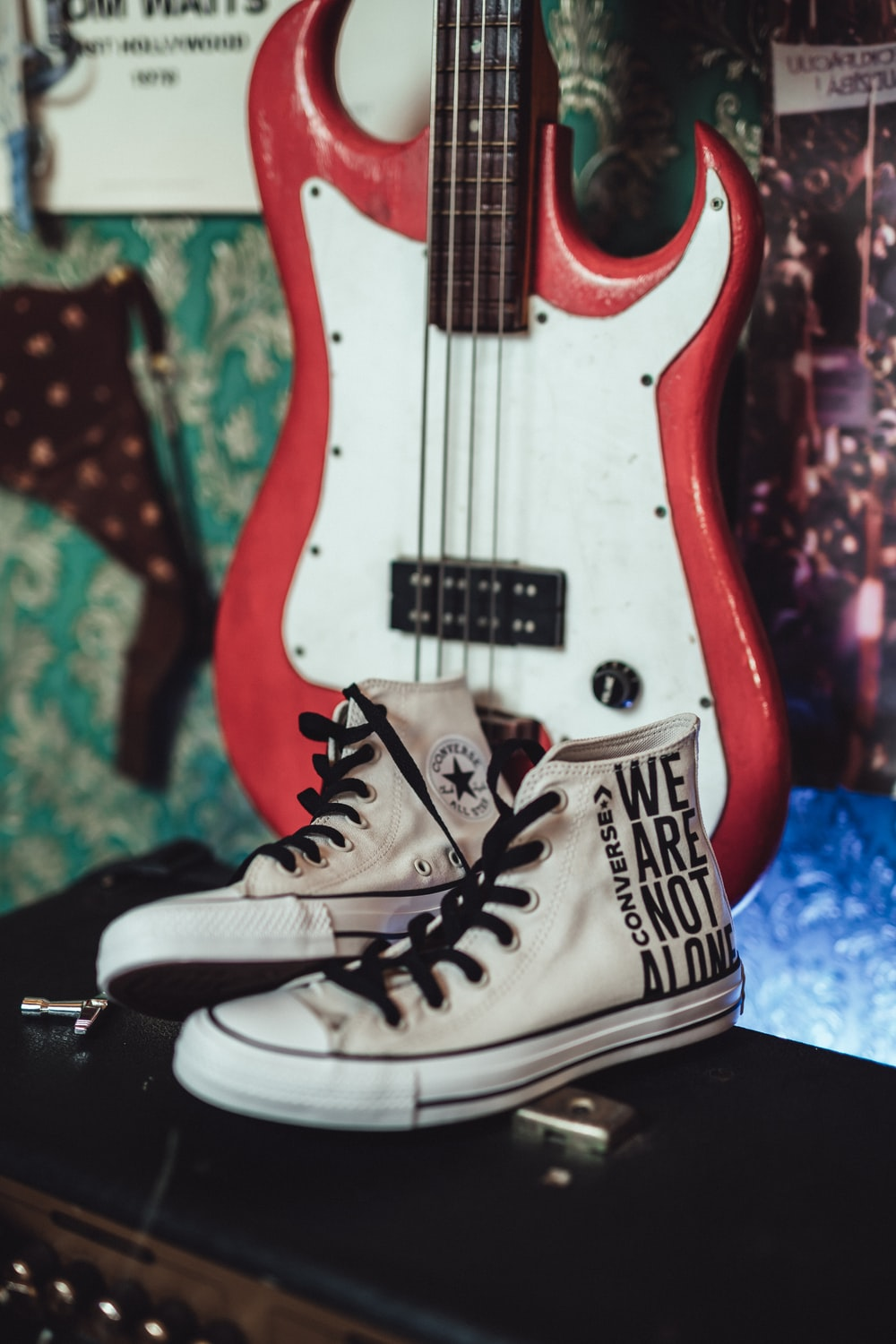 pair of white high-top sneakers