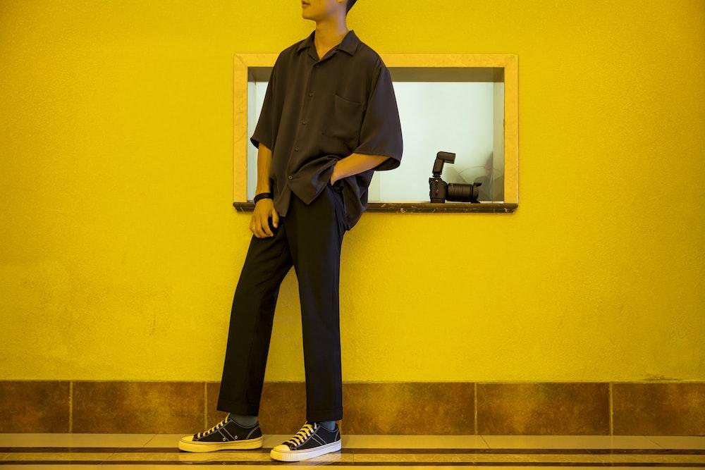 man in black pants