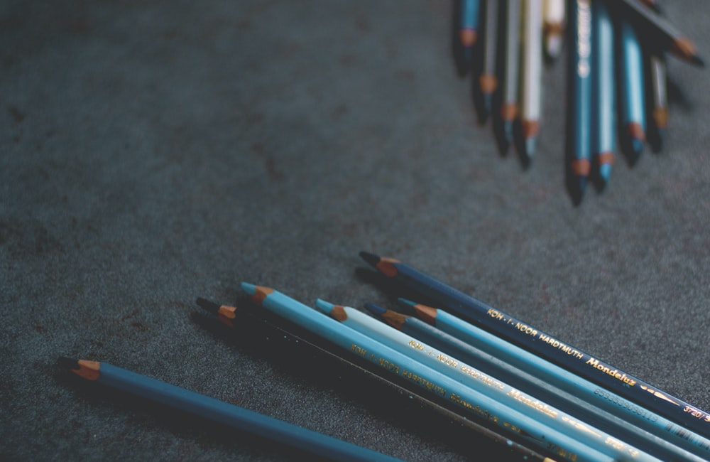 blue and white pencils