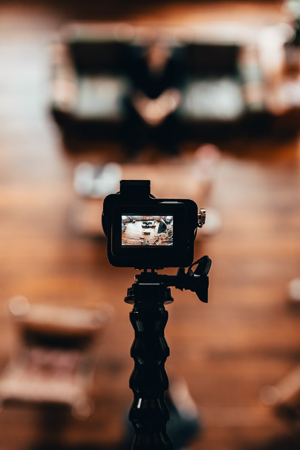 selective focus photography of action camera