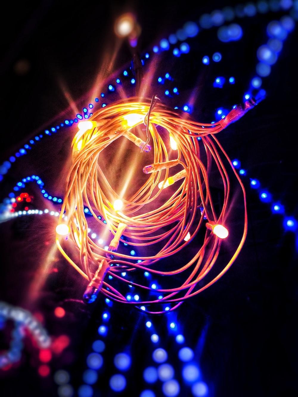 lighted string lights at night