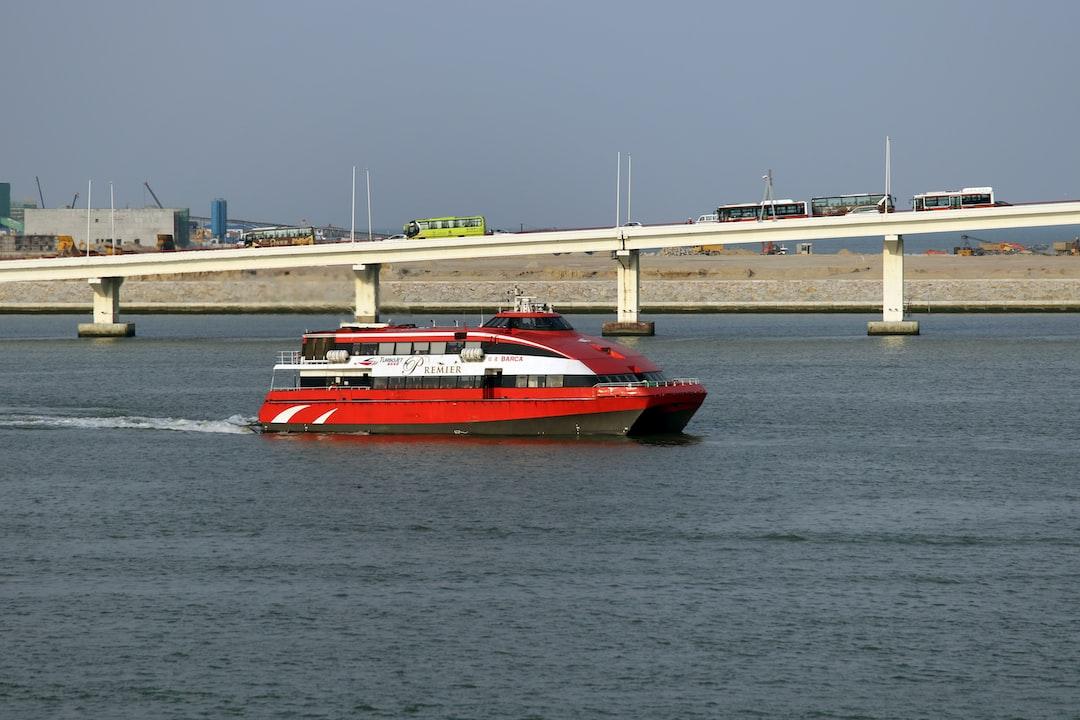 Macau Ferry  Turbojet Premier ferry Foilcat 35m (Barca) leaving Macau Outer Harbour Ferry Terminal Kvaerner Fjellstrand 35M Foilcat