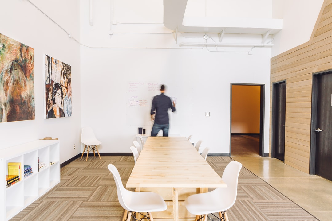 whiteboard, open office, dry erase, long table, ikea, mineral, shiplap