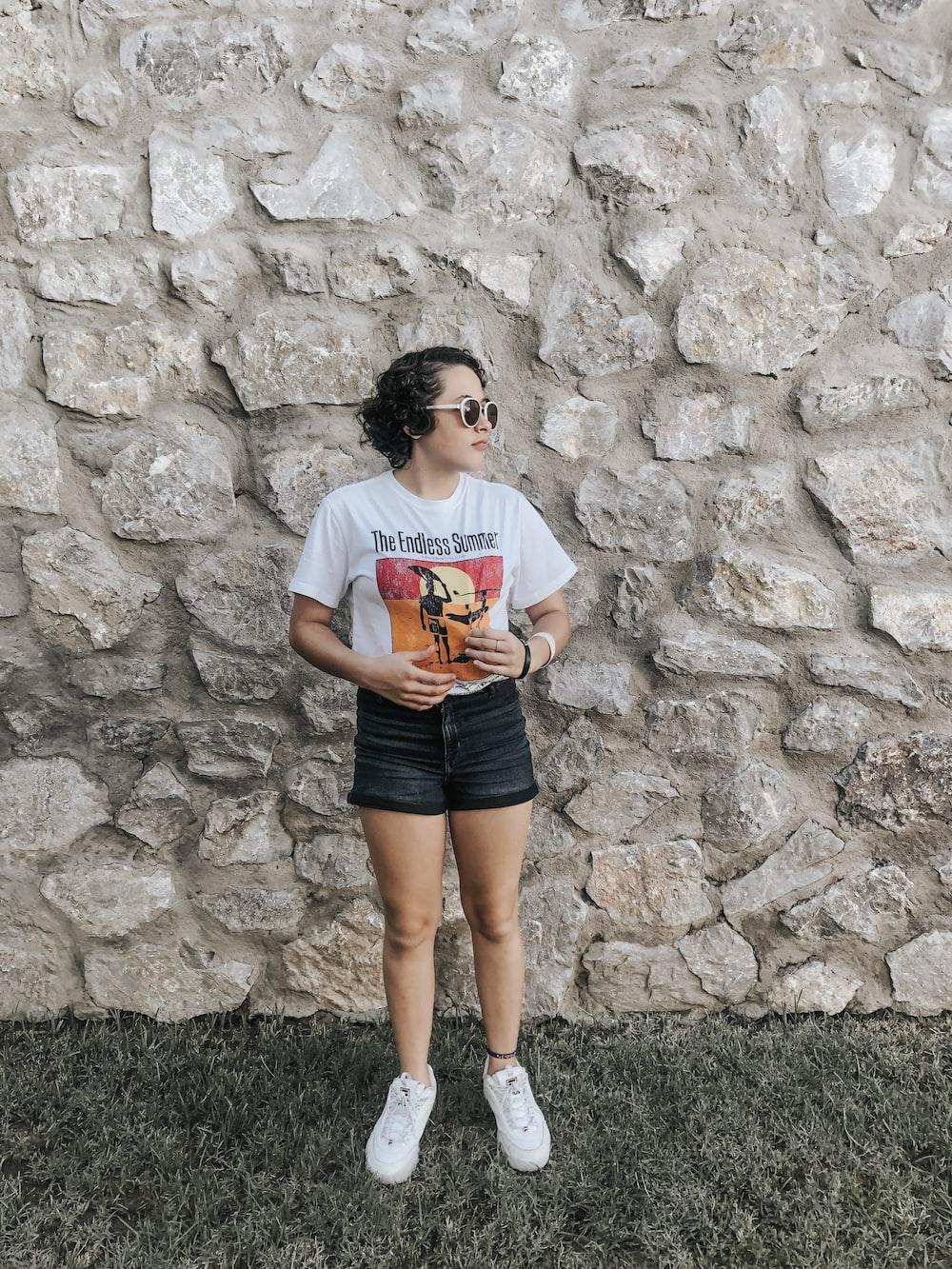 women's white and orange crew-neck t-shirt
