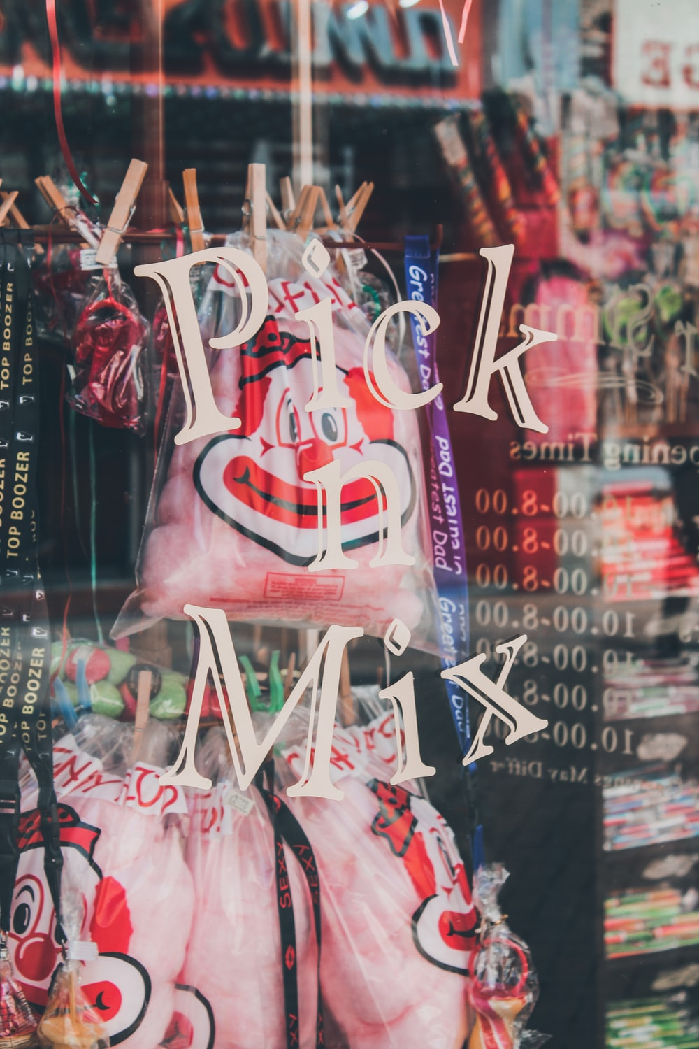 displayed bags inside Pick Mix shop