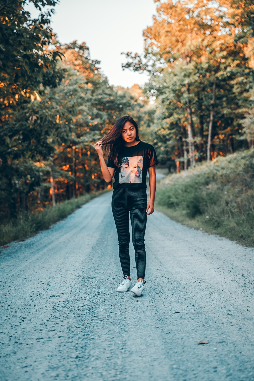 women's black crew-neck t-shirt