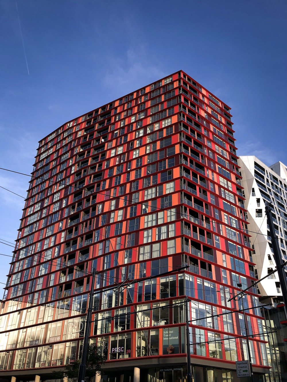 architectural photo of black and red concrete building