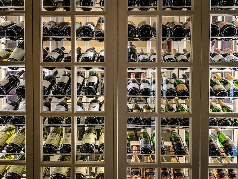liquor bottles on cabinet