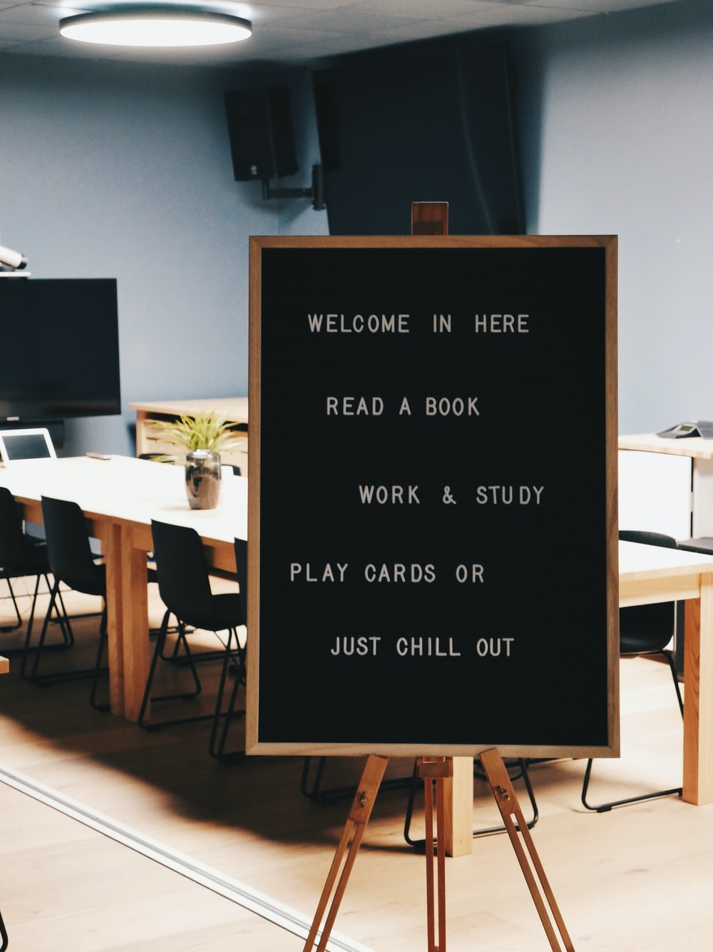 Welcome In Here Read A Book Work & Study Play Cards or Just Chill Out wooden sign