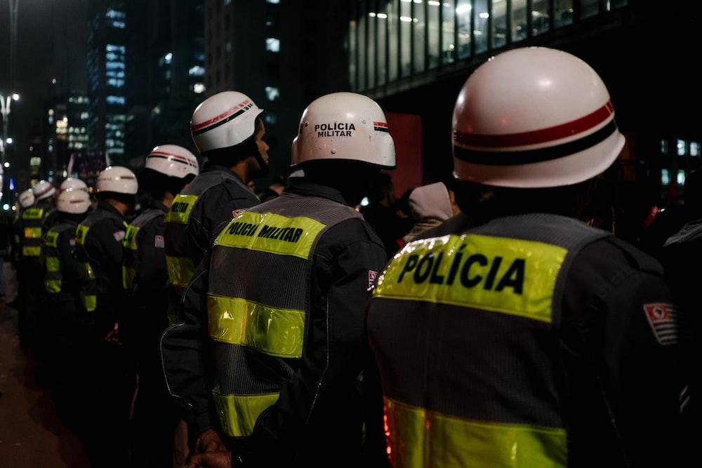 policemen near building