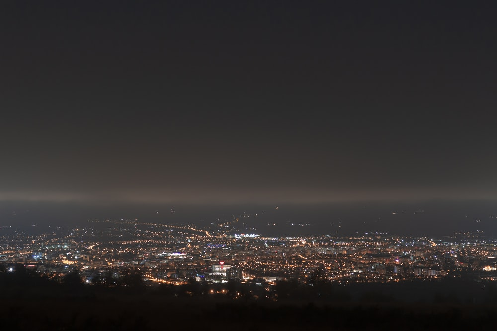 aerial view of city at night