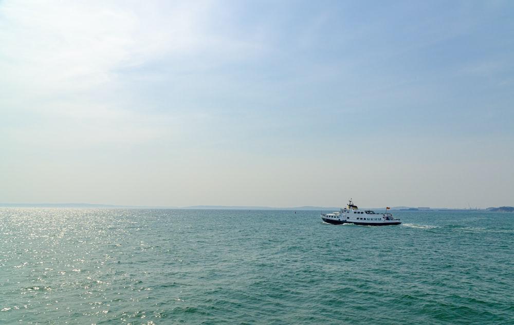 white ship on water