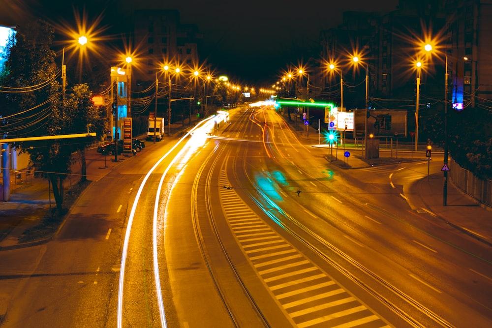black concrete road at nighttime