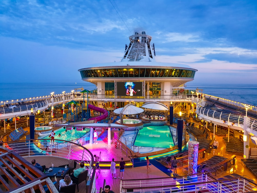 white and multicolored cruise ship