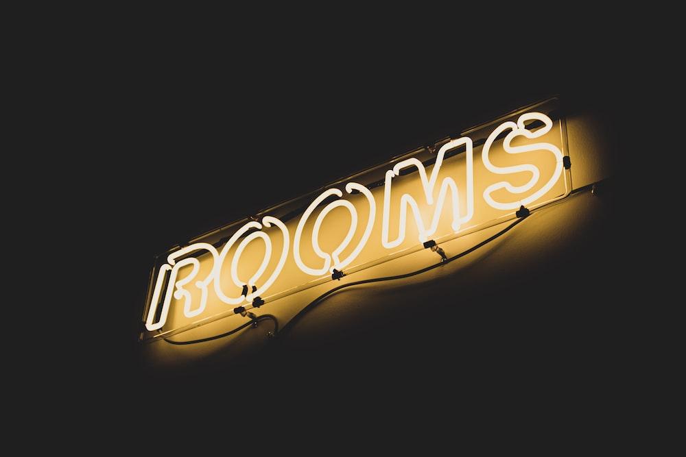 white rooms neon light
