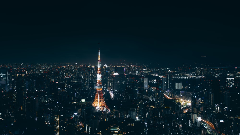 high-angle photography of buildings in dim light