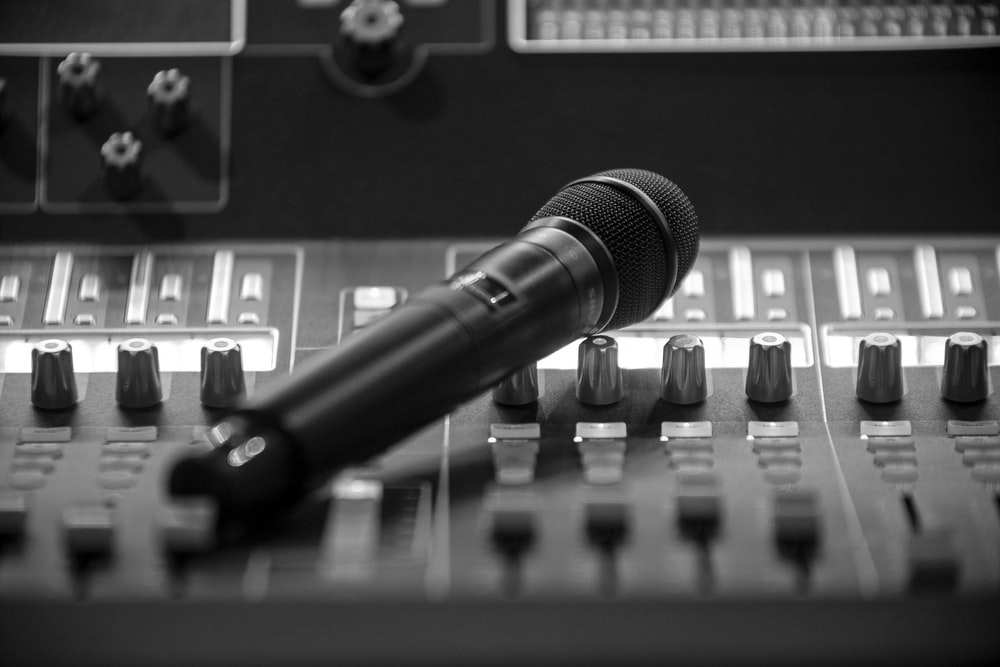wireless microphone on audio mixer