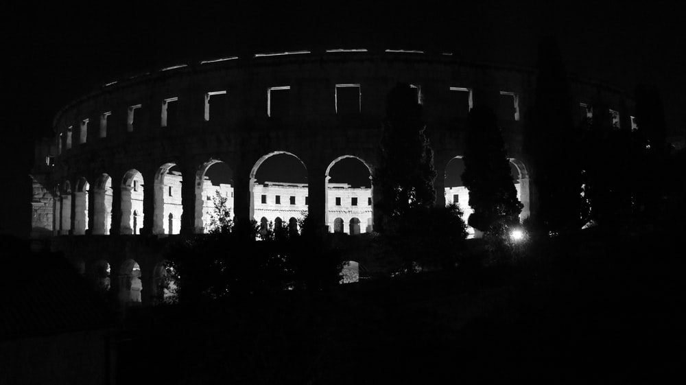 grayscale photography of arena