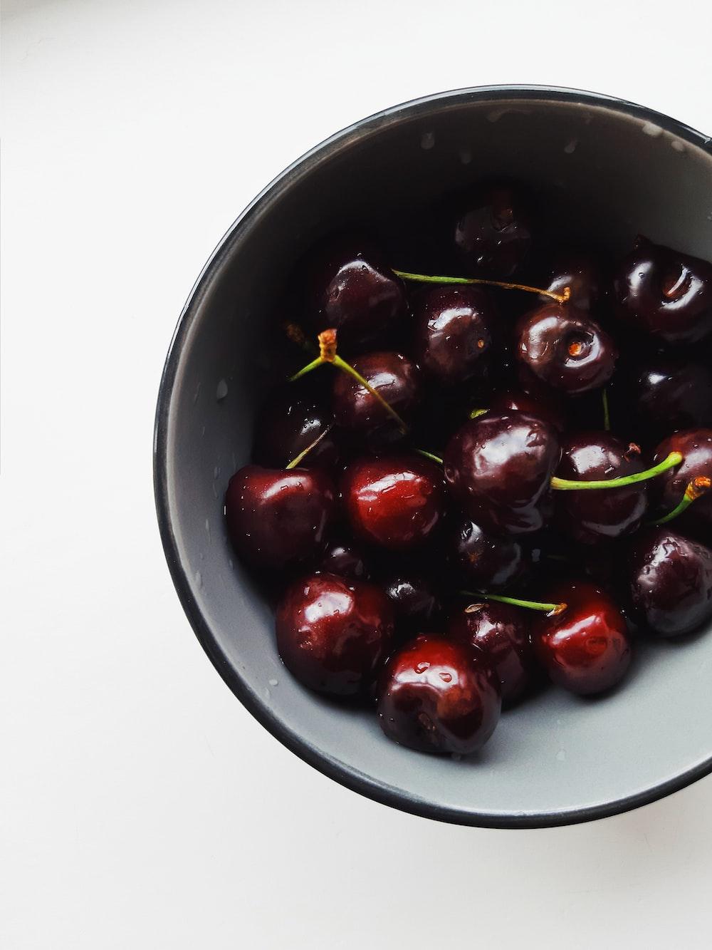 red cherries in bowl