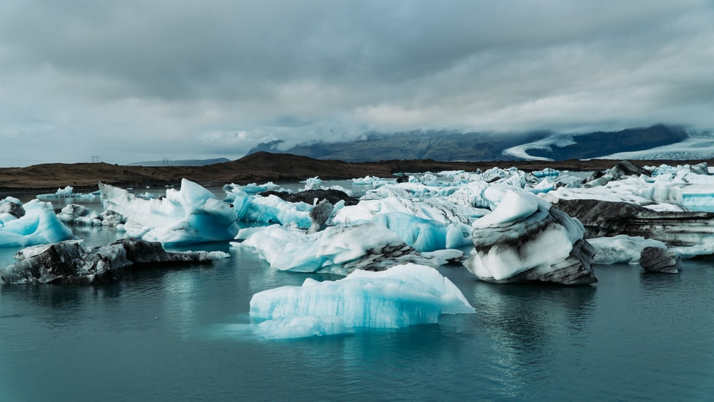 ice on water near island