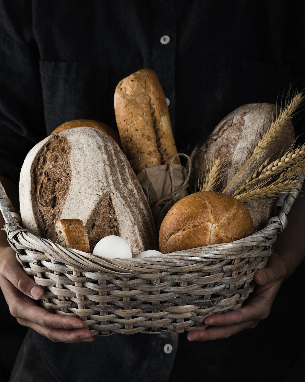 breads on wicker basket