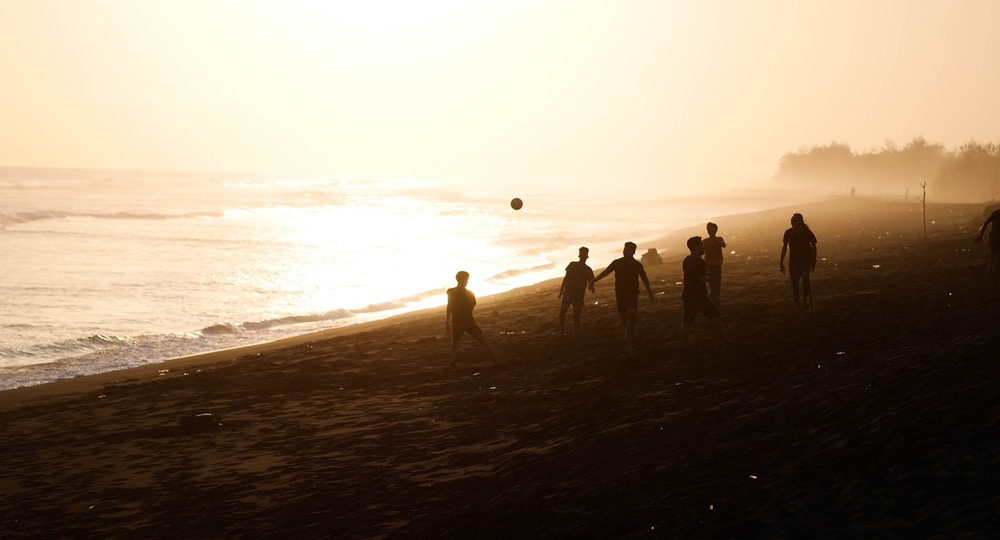 silhouette of people walking on shore