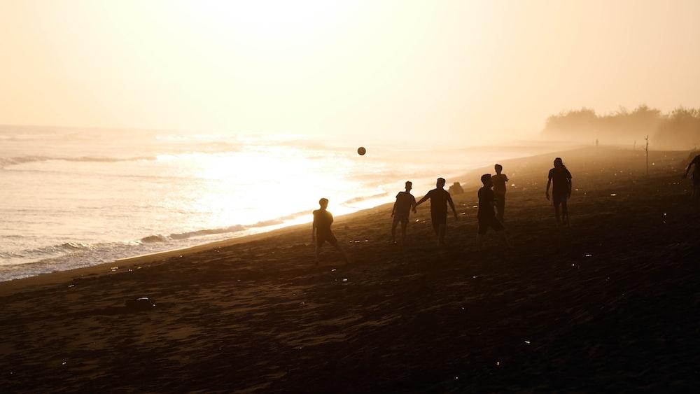 silhouette of people walking on shore